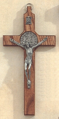 St. Benedict Walnut Stained & Antique Silver Crucifix 8 In., # 20278