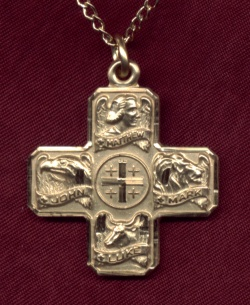 "7/8"" Four Evangelists Medal, 14kt Gold Filled, Your Choice of Chain # 2324"