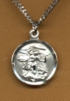 Small St. Michael Sterling Medal, Your Choice of Chain, # 2330