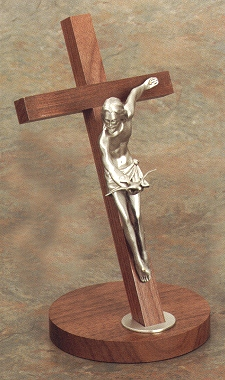 "11"" Gift of the Spirit Pewter Crucifix, Walnut & Antique Pewter, # 3078"