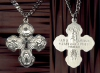 Cross Centered 4-Way Medal in Sterling, Your Choice of Chain # 3096