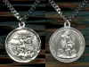 Large Michael Medal in Sterling, Your Choice of Chain, # 3111