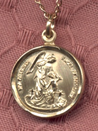 "1/2"" 14kt  Gold Filled Guardian Angel Medal, Your Choice of Chain, # 3184"