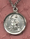 Small Sterling Guardian Angel Medal 1/2