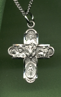 Small Holy Spirit 4-Way Medal Sterling, # 331