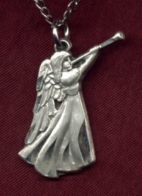 "7/8"" Trumpeter Sterling Angel Necklace, Your Choice of Chain # 6780"