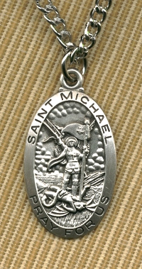 "1-1/16""x 5/8"" St. Michael Medal Sterling, 24"" Rhodium Plated chain., # 7440"