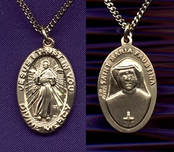 Divine Mercy 3/4 In. Oval Gold Filled,Your Choice of Chain # 776