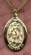 Oval St. Michael Gold Filled Medal, # 804