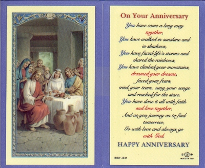 Anniversary Laminated Holy Card, 25-pack, # 59002
