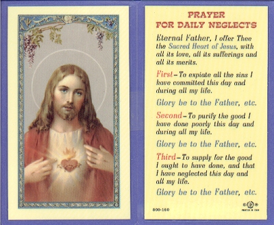 Daily Neglects Laminated Holy Card, # 99723