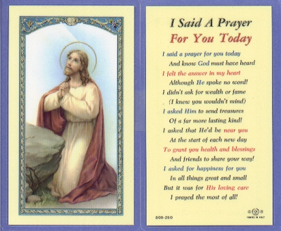 A Prayer For You Prayer Card, Laminated Holy Card, 25-pack, # 99725