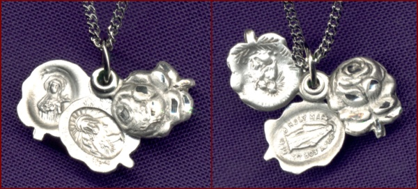 "Rose Three Way Medal 7/16"" Sterling Silver, Your Choice of Chain, # 95041"