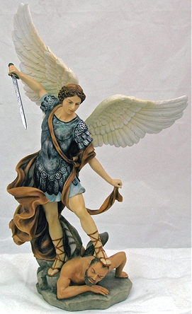 Saint Michael Hand Painted Resin Statue Brown Cloak 14 5