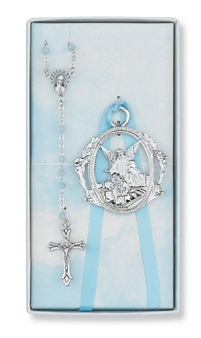 Baby S Crib Medal Amp Rosary Set Boys Blue 98374