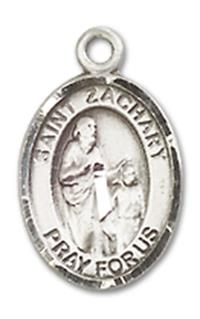 "St. Zachary 1/2"" Oval Charm Medal, Sterling Silver, your choice of Chain, # 10037"