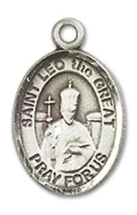 "1/2"" Sterling Silver St. Leo the Great Charm Medal, Your Choice of Chain, # 10040"