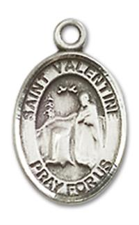 "St. Valentine Charm Medal, Fine Pewter, 1/2"", Your choice of chain, # 10430"