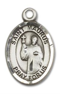 "1/2"" Sterling Silver St. Maurus Charm Medal, Your Choice of Chain, # 10096"