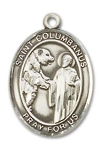 "St. Columbanus Charm Medal, Fine Pewter, 1/2"", Your choice of chain, # 10569"
