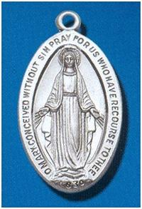 "Sterling Silver Miraculous Medal, #104450, 1-1/16 ""."