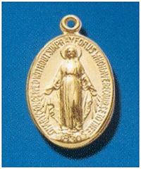"14kt Gold over Sterling Silver Miraculous Medal, 11/16"", Your choice of chain, #104453."