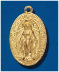 "14kt Gold over Sterling Silver Miraculous Medal, 7/8""  With your choice of chain, #104481"