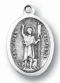 "St. John the Baptist Silver Oxidized Medal, 1"" overall, 25-Pack, # 1061"