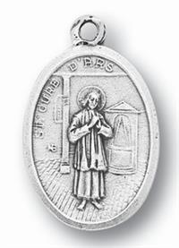 "St. John Vianney Silver Oxidized Medal, 1"" overall, 25-Pack, # 1063"