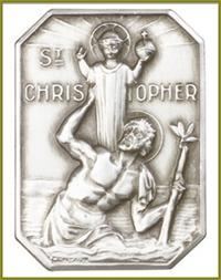 "Visor Clip, Silver Oxide Finish, St. Christopher, 1-3/8"" tall, # 11345"