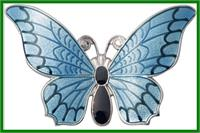 "Keychain, Silver Plated, Butterfly, 3-1/8"" wide, # 11414"