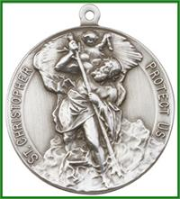 "Keychain, Silver Oxide Finish, St. Christopher, 1-1/2"" dia., # 11420"