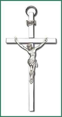 "4"" Crucifix, Silver Figure on Nickel Plated Cross, # 1198"