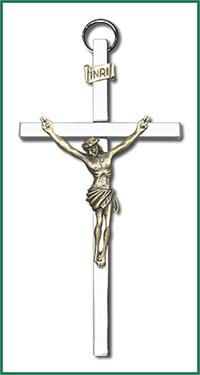 "4"" Crucifix, Gold Figure on Nickel Plated Cross, # 1203"