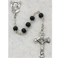 5mm Black Wood Children's Rosary, Sterling Silver Crucifix and Center, # 1350