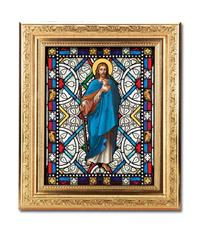 "Good Shepherd Framed Textured Italian Art Glass in 8"" x 10"" Finely Detailed Gold Frame, # 1439"