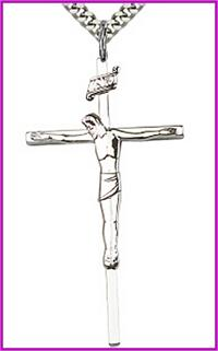 "1-7/8"" Sterling Silver Crucifix, Your Choice of Chain, # 15011"