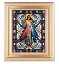 "Divine Mercy 8""x10"" Textured Italian Art Glass in 11""x13"" Satin Finished Frame, # 1513"