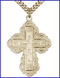 "Irene Cross, 14kt Gold Filled, 1-1/4"", Your Choice of Chain, # 15176"