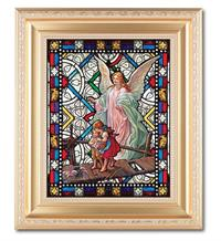"Guardian Angel 8""x10"" Textured Italian Art Glass in 11""x13"" Satin Finished Frame, # 1528"
