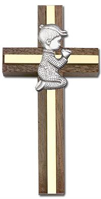 "4"" Praying Boy Cross, Walnut w/ Silver-Tone Figure & Polished Brass Inlay, # 1556"