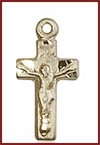 "1/2"" Solid 18kt Gold Crucifix, Free Chain, # 45657"