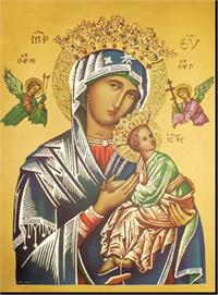 "19"" x 27"" Poster of Our Lady of Perpetual Help, Italian gold embossed, #, 56931"