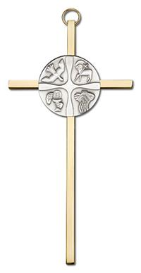 "6"" Christian Life Cross, Silver-Tone Medallion on Polished Brass Cross, # 1719"