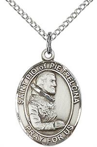 "St. Pio of Pietrelcina Medal in Fine Pewter, 3/4"" tall, Your Choice of Chain # 17202"