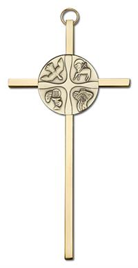 "6"" Christian Life Cross, Gold-Tone Medallion on Polished Brass Cross, # 1722"