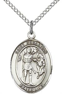 "St. Sebastian Medal in Fine Pewter, 3/4"" tall, Your Choice of Chain # 17232"