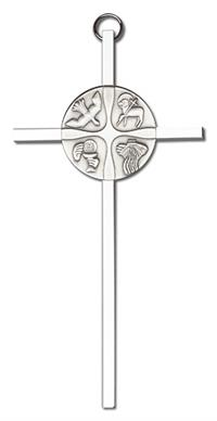 "6"" Christian Life Cross, Silver-Tone Medallion on Nickel Plated Cross, # 1724"