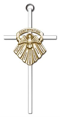 "6"" Seven Gifts of the Holy Spirit Cross, Gold-Tone Medallion on Nickel Plated Cross, # 1727"