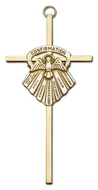 "6"" Seven Gifts of the Holy Spirit Cross, Gold-Tone Medallion on Polished Brass Cross, # 1728"